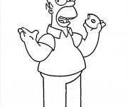 Coloriage et dessins gratuit Homer Simpson  comique à imprimer