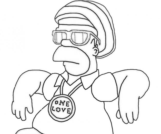 Coloriage et dessins gratuits Homer Simpson comique à décorer à imprimer