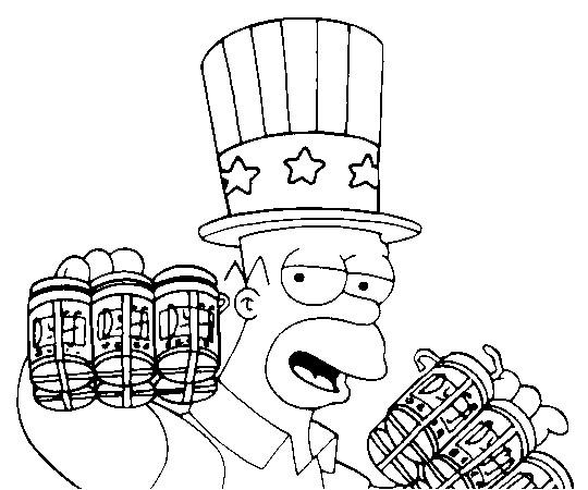Coloriage et dessins gratuits Homer Simpson et l'amour de Bière à imprimer
