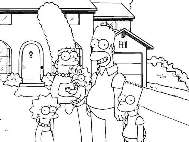Coloriage Les Simpsons Devant Leur Maison Dessin Gratuit A Imprimer