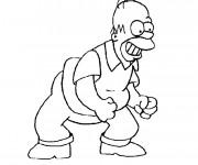 Coloriage Simpson Homer est excité