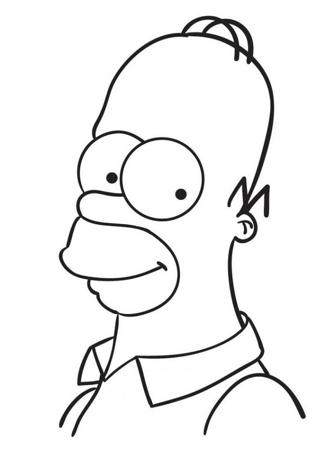 Line Design Art With Mr E : Coloriage visage de homer simpson dessin gratuit à imprimer