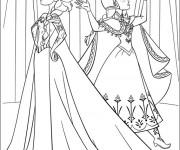 Coloriage Elsa et Anna en désaccord