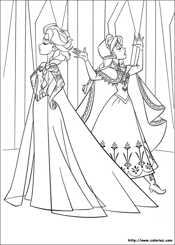 Coloriage Elsa et Anna en d saccord