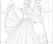 Coloriage Elsa et Anna en Robes magnifiques