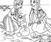 Coloriage et dessins gratuit Elsa et Anna et Le Pauvre Olaf à imprimer