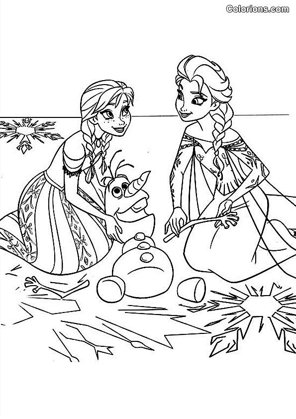 Coloriage et dessins gratuits Elsa et Anna et Le Pauvre Olaf à imprimer