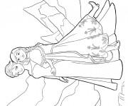 Coloriage Elsa et Anna Soeurs  vecteur