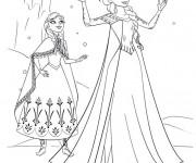 Coloriage Elsa et Anna sous La Neige