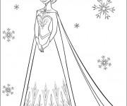 Coloriage et dessins gratuit Elsa et Flocons de Neige à imprimer