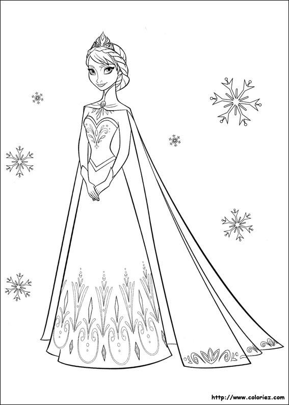 Coloriage et dessins gratuits Elsa et Flocons de Neige à imprimer