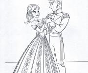 Coloriage Elsa et Hans dansent