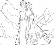 Coloriage Elsa et Sa soeur dans La Montagne