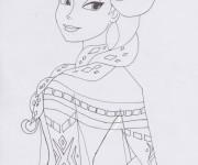 Coloriage Elsa La Reine des Neiges au crayon