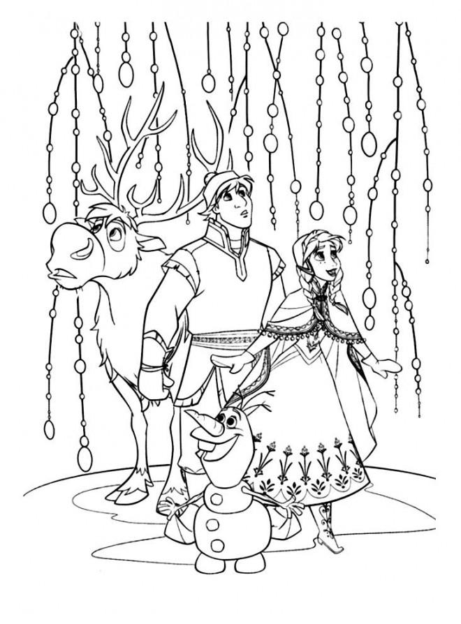Coloriage et dessins gratuits Fantastique Reine des Neiges et ses amis à imprimer