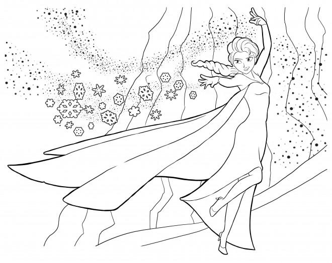 Coloriage et dessins gratuits La Reine des Neiges en toute beauté à imprimer