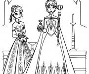 Coloriage La Reine des Neiges et Anna à découper
