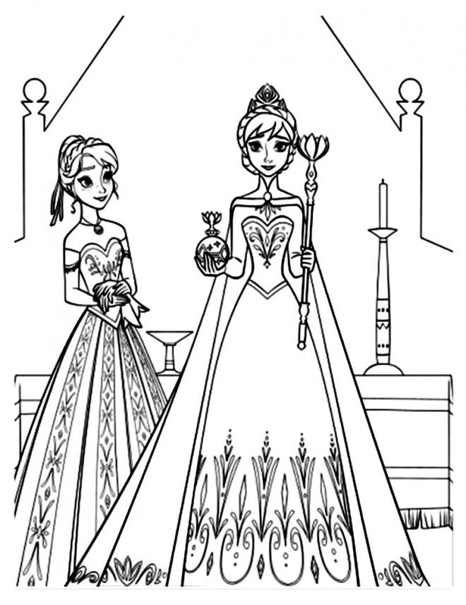 Coloriage et dessins gratuits La Reine des Neiges et Anna à découper à imprimer