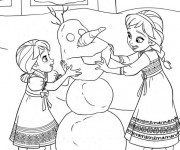 Coloriage et dessins gratuit La Reine des Neiges et Bonhomme de Neige à imprimer