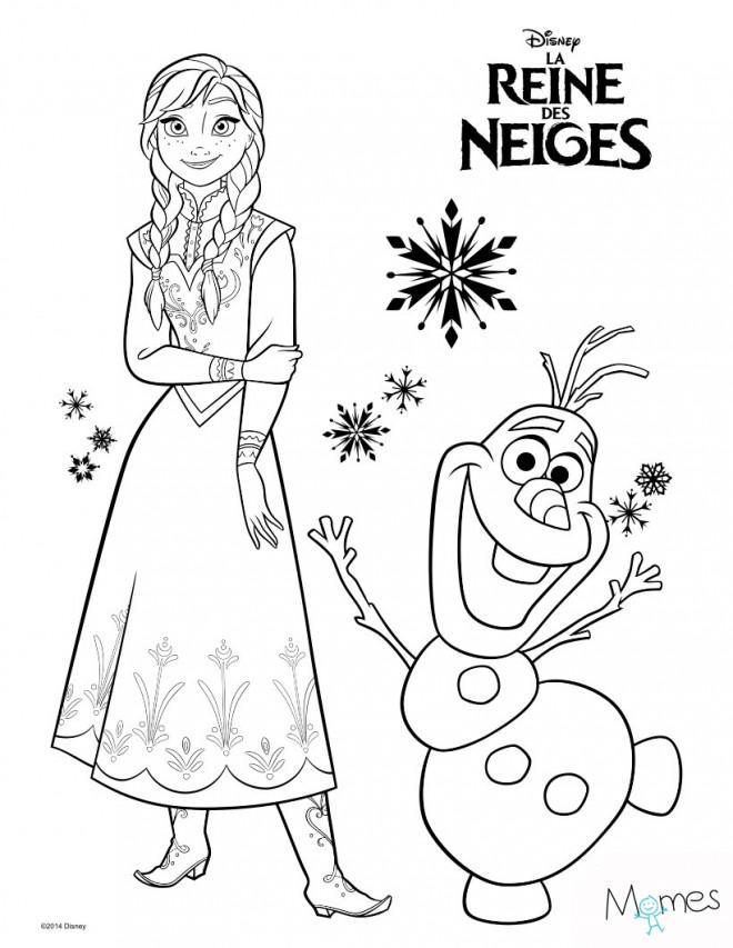 Coloriage et dessins gratuits La Reine des Neiges et Olaf à imprimer