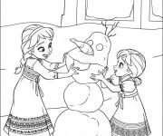 Coloriage Les Deux Soeurs construisent Olaf