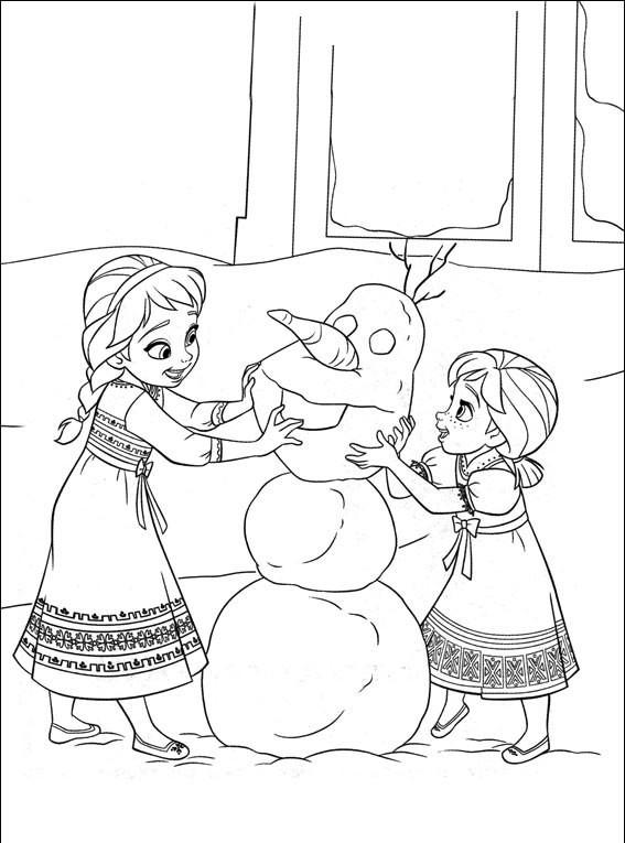 Coloriage et dessins gratuits Les Deux Soeurs construisent Olaf à imprimer