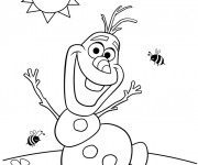 Coloriage Olaf humoristique en été