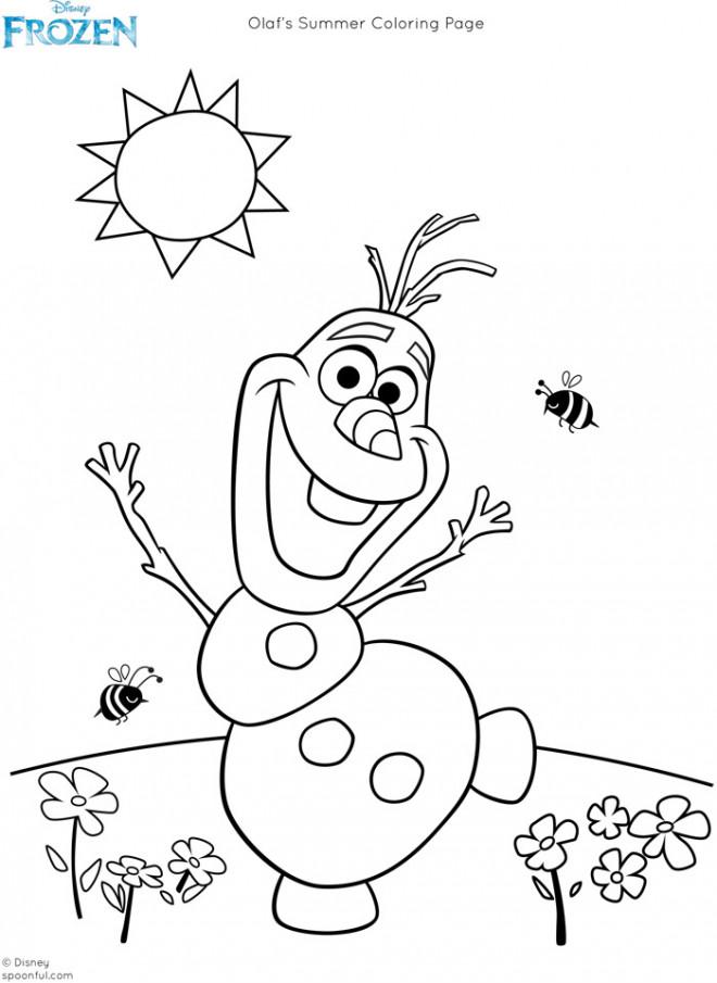 Coloriage et dessins gratuits Olaf humoristique en été à imprimer