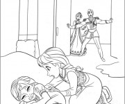 Coloriage Petite Elsa et sa soeur effrayée