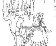 Coloriage Reine des Neiges Kristoff et Sven