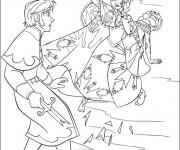 Coloriage Scène de Elsa et Hans animé