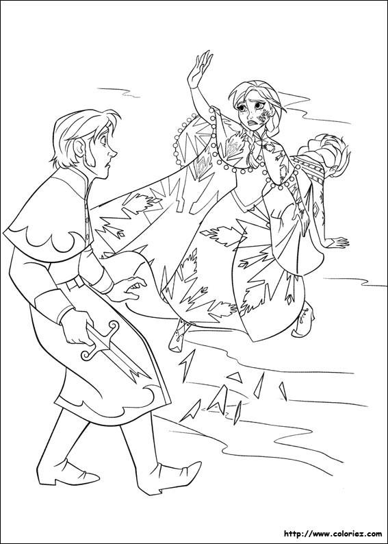 Coloriage et dessins gratuits Scène de Elsa et Hans animé à imprimer