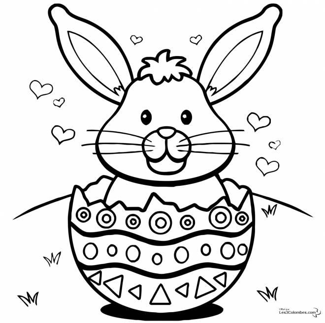 Coloriage et dessins gratuits Lapin dans oeuf de Pâques à imprimer