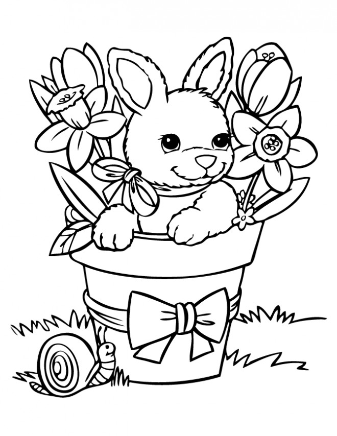 Coloriage Lapin Mignon 7 dessin gratuit à imprimer
