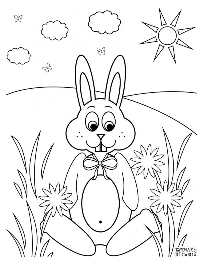 Coloriage et dessins gratuits Lapin Mignon dans La Nature à imprimer