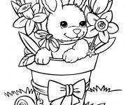 Coloriage Lapin Mignon s'amuse parmis les fleurs