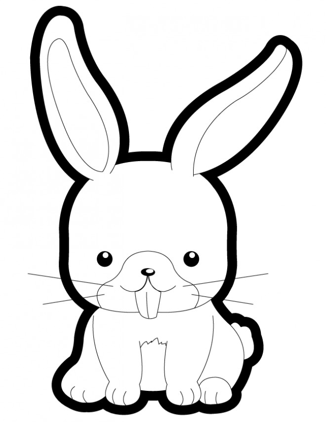 Coloriage lapin mignon vectoriel dessin gratuit imprimer - Dessin lapin mignon ...