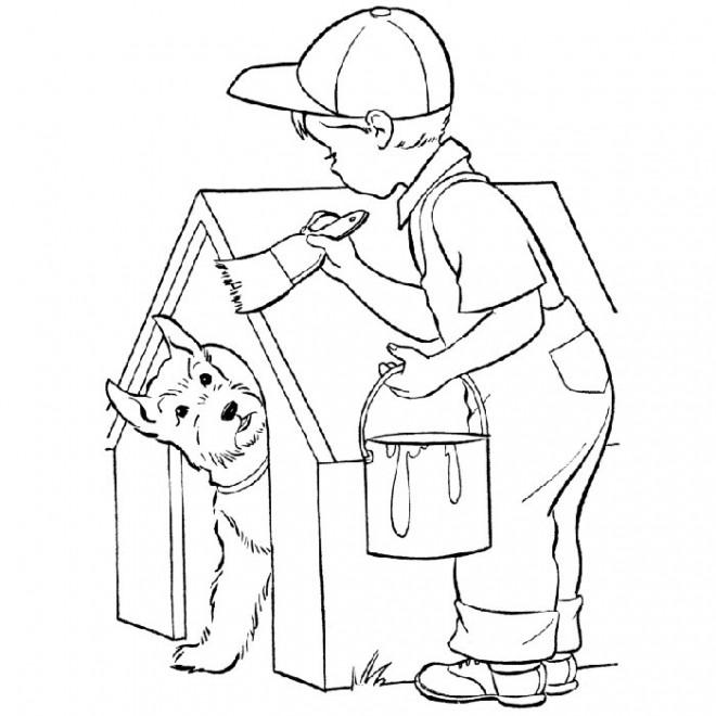 Coloriage Le Petit Garçon bricoleur dessin gratuit à imprimer