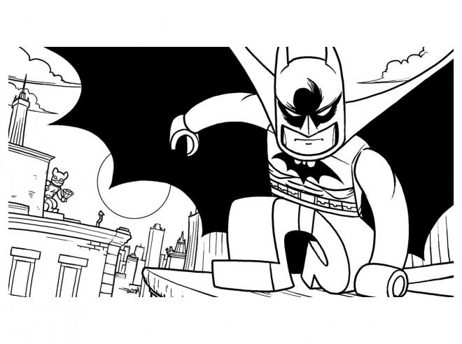 Coloriage et dessins gratuits Lego Batman en noir à imprimer