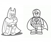 Coloriage Lego Batman et Super Man