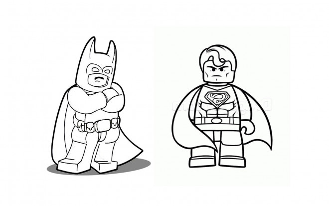 Coloriage lego batman et super man dessin gratuit imprimer - Superman et batman dessin anime ...