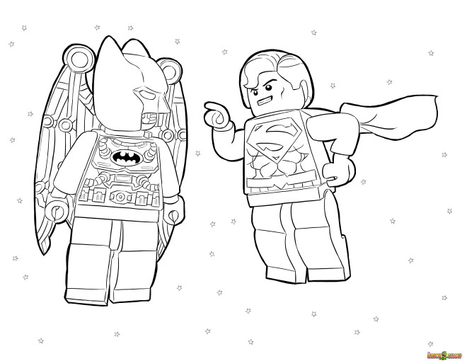 Coloriage et dessins gratuits Lego Héros Batman et Super Man à imprimer