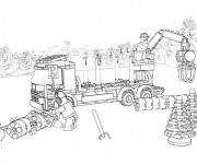 Coloriage Lego City Camion de forage  dans La Forêt