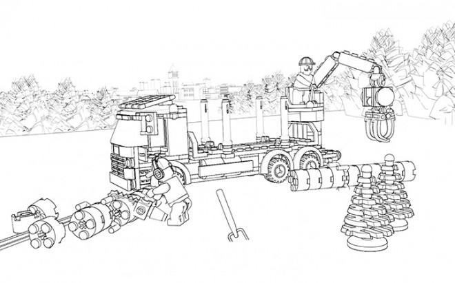 Coloriage Camion Lego.Coloriage Lego City Camion De Forage Dans La Foret