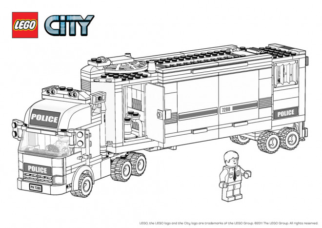 Coloriage lego city camion de police dessin gratuit imprimer - Dessin de lego city ...
