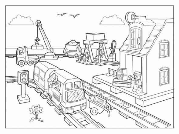 Coloriage lego city gare de train dessin gratuit imprimer - Coloriage de lego city ...