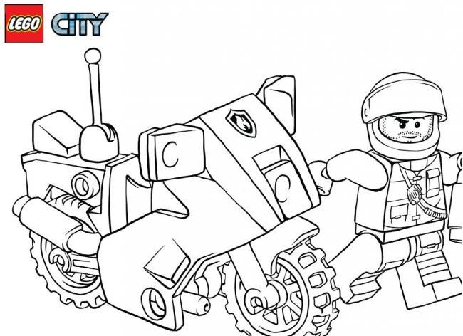 Coloriage lego city moto de police en couleur dessin gratuit imprimer - Lego city a colorier ...