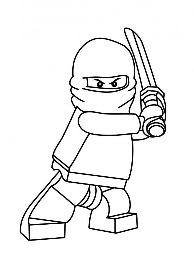 Coloriage et dessins gratuits Lego Ninjago Cole portant son épée à imprimer