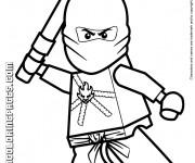 Coloriage Lego Ninjago Kai au combat