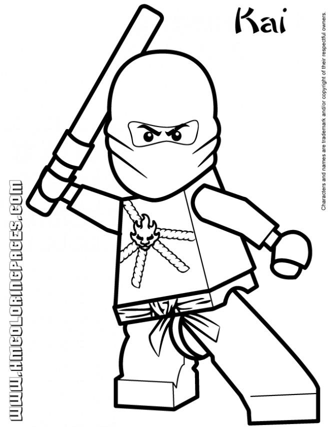 Coloriage et dessins gratuits Lego Ninjago Kai au combat à imprimer